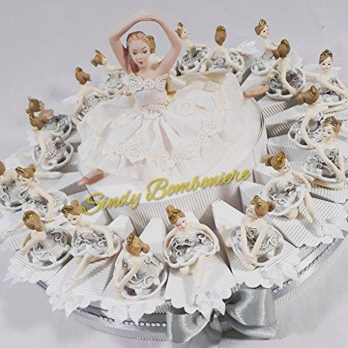 Torta bomboniera comunione battesimo con ballerine da appoggio (torta da 20 fette)