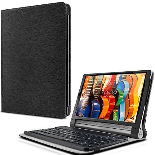 Lenovo Yoga Tab 3 Plus/ Lenovo Yoga Tablet 3 10 Pro Keyboard Tastatur Hülle, Infiland Bluetooth Tastatur Ultradünn leicht Shell Ständer Schutzhülle mit magnetisch abnehmbar drahtloser Bluetooth Tastatur für Lenovo Yoga Tab 3 Plus 25,65cm (10,1 Zoll IPS) Convertible Media Tablet/Lenovo YOGA Tablet 3 10 Pro 25,6 cm (10,1 Zoll QHD IPS) Tablet(QWERTZ Tastatur)(Schwarz)