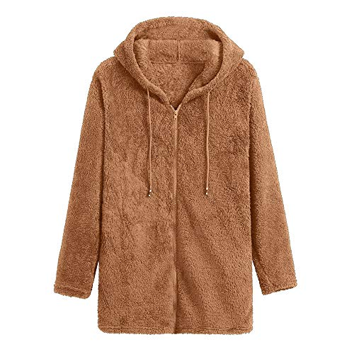 Damen Hoodie stylischer Herbst Winter Jacke Faux Für Kapuzenpullover Teddy-Fleece Mantel Langarmshirt Sweatshirt Strickjacke Locker Plüschjacke Mode Pulli Female Zipped Jacket von Innerternet