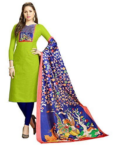 Blissta Women's Green Slub cotton Straight unstitched salwar suit with digital print...