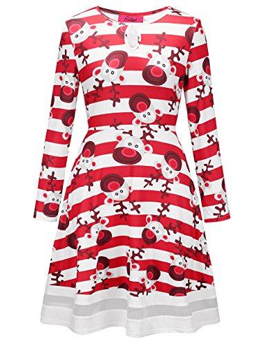 Vestito da masticare floreale di stampa Xmas della manica lunga del vestito da Natale delle donne di Ruiyige Tipo 9 Bianco