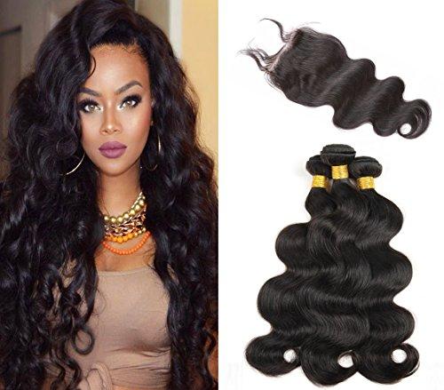 Sunwell cheveux humain brésiliens Body Wave 3 lots de tissage avec une partie 4X4 lace closure couleur naturelle 16\\