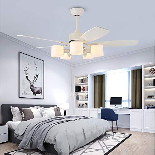 WWLONG Ventilador de Techo eléctrico Blanco luz de Ventilador de 48 Pulgadas / 120 CM Control Remoto...