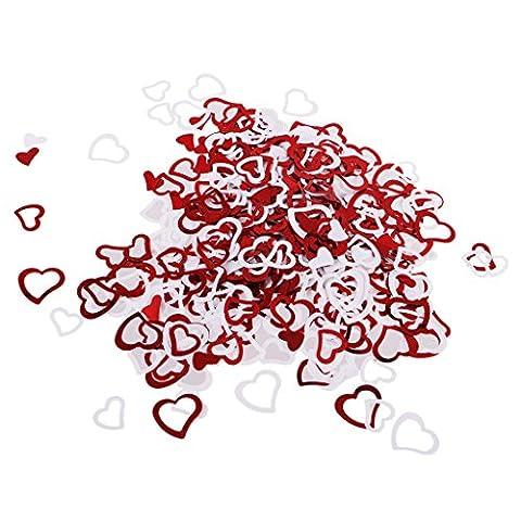 Gazechimp Romantique Coeur Confettis Sprinkles Rouge et Blanc pour Décoration Mariage Fête Valentin