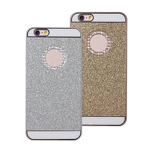 iPhone 7 Hülle Glitzer, Rosa Schleife Ultra Dünn PC Hart Cases BackCover Crystal Glitzer Schutzhülle Handyhülle Bumper Schale für iPhone 7 Silber & Gold