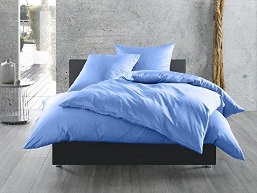 Mako-Satin Baumwollsatin Bettwäsche uni einfarbig zum Kombinieren (Kissenbezug 40 cm x 40 cm, Hellblau)
