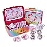 Juego de té de juguete en maletín de color rosa con unicornio mágico de Lucy Locket - Vajilla infantil de estaño de 14 piezas