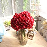 Longra 1 Bouquet 5 Köpfe Künstliche Seide gefälschte Blumen Pfingstrose Blumen Blumenstrauß Blumen-Bouquet Bridal Bouquet Blume Hochzeit Home Party Dekoration (Red)