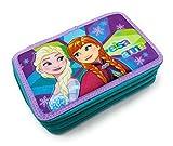 Dimagraf Frozen - Astuccio Scuola 3 Zip Originale Disney Frozen - Completo di 44 Pezzi (Verde Acqua/Viola)