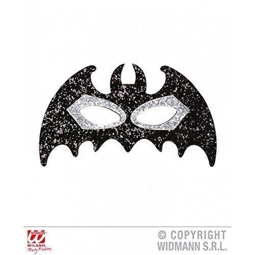 Augenmaske Fledermaus mit Glitter in schwarz-silberfarben für Fasching / Halloween / Halloweenmaske / Fledermausmaske / (Kostüme Teufel Glitter)