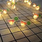Kingko Solar LED Ananas, 20 LED Warmweiß Außen Wasserdichte lichterkette Dekorative für Garten, Party, Hochzeit, Haus,Fest Deko Beleuchtung (Warmes Weiß) (rot)