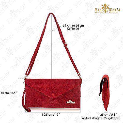 LiaTalia Italienische Wildleder Umschlag Clutch Abendtasche mit Baumwollfutter und Staubschutztasche - Leah Rot