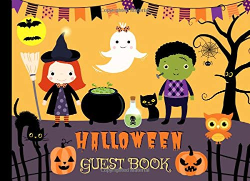 Halloween Guest Book: Cute Sign In Book for Halloween Parties and Birthdays with Place to Write Guest Names and Messages (Cute Halloween Cat-namen)