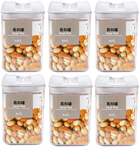 Absales Plastic Airtight Food Storage Containers with Lids, 6 Pieces (800 ml) 6 Pieces