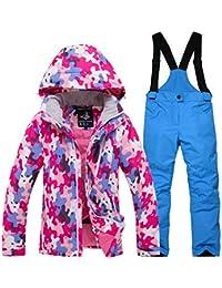 Chaqueta Esqui Niños Pantalón Impermeable, Traje de Snowboard Abajo Cálido Impermeable Chica Tamaño…