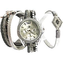 Michael John Damen-Armbanduhr Armband Doppel grau Mylta