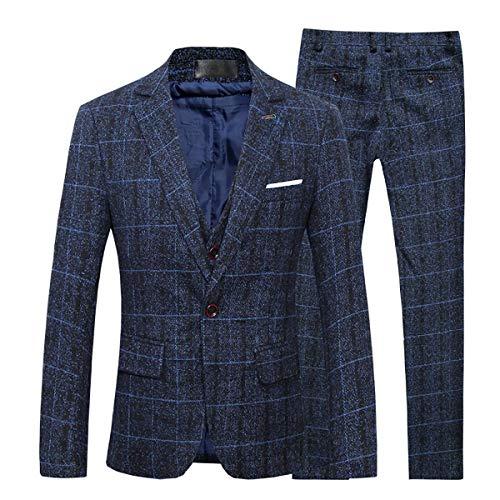 Cloudstyle Anzug Herren Slim Fit 3 Teilig Karriert Tweed Herrenanzug 3-Teilig Anzüge für Business Hochzeit Dunkelblau XL