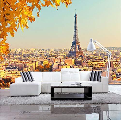Benutzerdefinierte Wandbild Tapete 3D Eiffelturm Maple Leaf Foto Wandmalereien Wohnzimmer Schlafzimmer Hintergrund Wanddekor -
