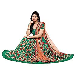 Styles closet women Taffeta Silk Aari embroidered Lehenga choli Green