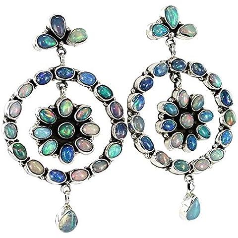 AUSTRALIAN MULTI COLORE opale argento orecchini rotonda 3