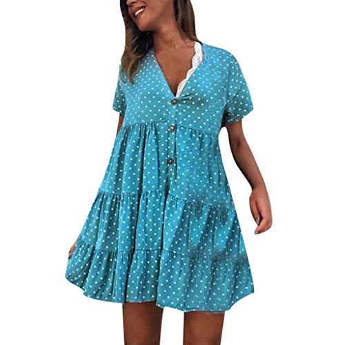 Kleider Damen, GJKK Mode Polka Dot Minikleid Reizvoller Tief V-Ausschnitt Strandkleid Kurz Sommerkleider Kurzarm Freizeit Kleider Skaterkleid Tunika T-shirt Kleid A-Line Kleid Blusenkleid