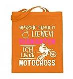 Hochwertiger Jutebeutel (mit langen Henkeln) - Motocross Shirt · Dirtbike · Geschenk für Enduro Fahrer · Spruch: Frau liebt Motocross
