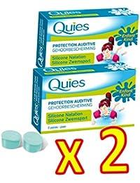 QUIES - Protection Auditive silicone special natation ENFANT - Lot de 2 boite de 3 paires (E)