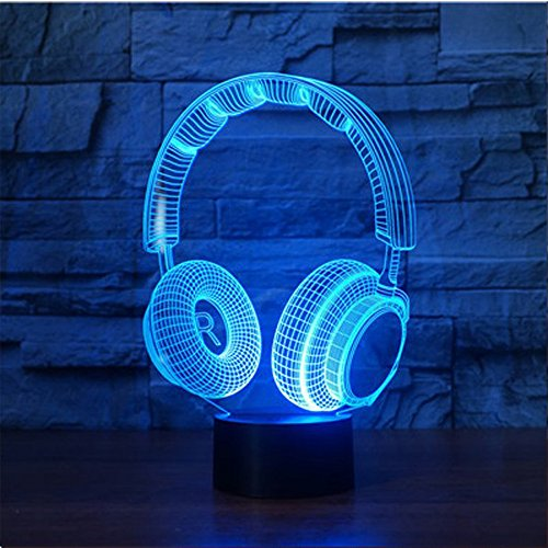 KEEDA 3D Optische Illusions Lampen, LED Touch Schreibtisch Lampe, 7 Farbwechsel Tischlampe Licht, LED Nachtlicht Kinder Dimmbar, 7 Color Changing Table Light Lamp, mit USB Kabel (Kopfhörer-1)