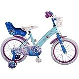 Bicicleta Bici para niña Disney Frozen 16 pulgadas con diseño de cesta portabambole 4 a 6 años, color azul claro