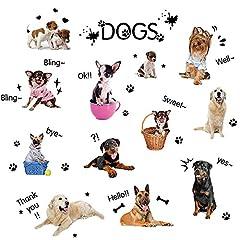 Idea Regalo - Wopeite Cuccioli Cani adesivi murali fai da te decalcomanie della Vivid amore pet decorazioni rimovibile per i bambini della scuola materna Soggiorno Camera