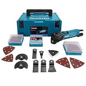 Makita TM3010CX3J Multifunktionswerkzeug 320W + 58 teiliger + Koffer Makpac, blau, silber