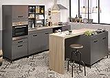 expendio Singleküche Mona 1 grau 7-teilig Küchenzeile Kleinküche Küchentresen Küchenblock Miniküche Küchenmöbel