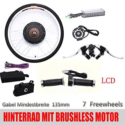 """OBLLER 26\"""" Elektro-Fahrrad Kit Ebike Elektrofahrrad Umbausatz LCD Hinterrad(48V,1000W)"""