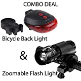 #9: Bulfyss Combo Of 5 LED Laser Tail Light And Zoomable Mode Bicycle Headlight LED Flashlight /Front Bicycle Light Lamp Mount Torch + Holder Clip Mount