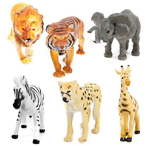 6 Stück Kunststoff Wild Tiere Spielzeug Modell - 3