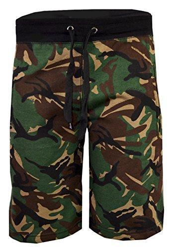 i-Smalls Männer Sommer Camouflage Gym Fleece Jogger Shorts (L) Grün (Kordelzug Walking Shorts)