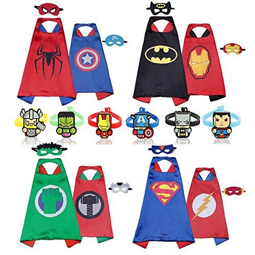 RioRand Superhelden Kostüm für Kinder Helden verkleiden sich mit Masken (4pieces doppelseitige Kappen mit 8 Masken und 6 Armbänder)