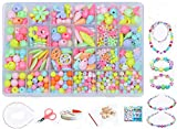 Children DIY Beads Set,Bracelet Bead Art & Jewellery-Making,Bead String Making Set,24 Different Types and Shapes Colorful Acrylic DIY Beads in a Box