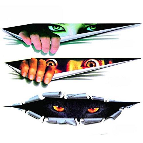 3 X Blick auf die schrecklichen Augen des Monsters, Auto Aufkleber / Aufkleber Laptop iPad Windows, Wände, Lastwagen, Motorräder, Motorräder.
