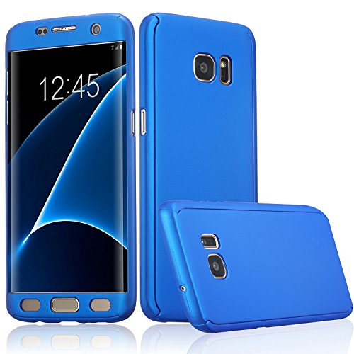 Xelcoy® 360 Degree Full Body Protection Front & Back Slim Hybrid Case Cover With Tempered Glass Screen Protector for Samsung Galaxy S7 – Blue