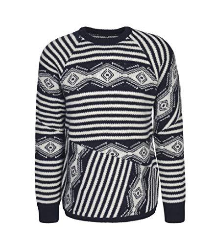 drykorn pullover herren Drykorn Herren Pullover Tido mit blau-weißem Muster 3019 Blue White M