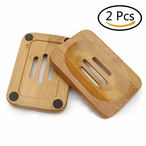 Lot de 2Porte-savon Soap Case Support Bambou, rectangulaire, lavabo Deck baignoire douche, main artisanat pour douche, Comptoir, lavabo et salle de bain, bambou, Lot de 2