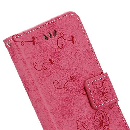 Apple iphone 6S Hülle,iphone 6 Leder Flip Case,Ekakashop Retro Style Book Style Anti-choc PU Leder Wallet Brieftasche Handyhülle Etui Schale Flip Cover Smart Case mit Standfunktion und Karte Halter fü Rosa Pervenche
