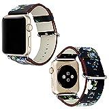 Bracelet en Pu Cuir pour Apple Watch avec Motif à Fleurs 42mm, Sasairy Sangle de Montres Band Bracelet de Remplacement Pour Apple Watch Series 1/Series 2