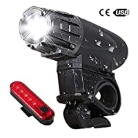 Uniavo USB Rechargeable Waterproof Cycle Light, High 350 Lumens Super Bright Headlight and Tail Light Set, LED Front and Rear Lights Combo