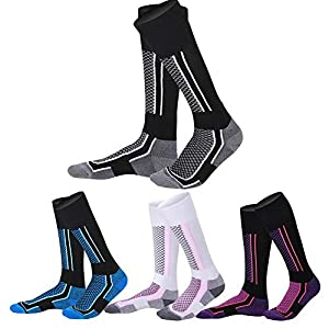 Lange Ski Socken, Outdoor Sport Herrenstrümpfe für Herbst und Winter Wandern, Damen Verdickung Warme Frottee Bottom Sportsocken