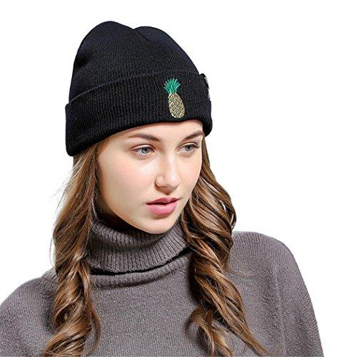 LCLrute Mode Qualität Ananas gestickte Männer Frauen Baggy Wolle stricken Ski Beanie Hut (Schwarz) (Winter Hut Stricken Gestickte)