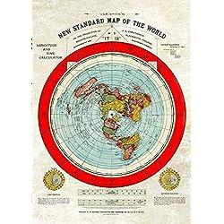 Flat Earth Map–Gleason Standard di Mappa del Mondo di ripristino, Grande A1Poster (33.1x 23.4)