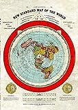Terre Plate - Taille Géante Gleasons New Statndard Carte du Monde 1892 (A1 33.1' x 23.4') Flat Earth