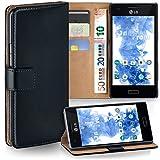 MoEx LG E610 Optimus L5 Hülle Schwarz mit Karten-Fach [OneFlow 360° Book Klapp-Hülle] Handytasche Kunst-Leder Handyhülle für LG Optimus L5 Case Flip Cover Schutzhülle Tasche